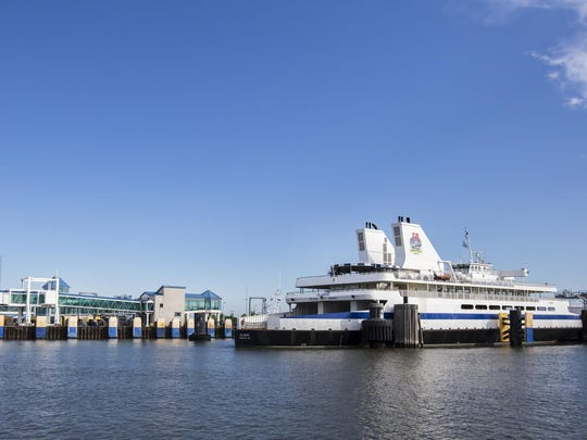 The Cape May-Lewes Ferry sits docked in Cape May, N.J. One of the engines on the Cape May-Lewes Ferry failed on Friday, stranding 143 passengers for two hours.
