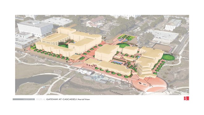 Conceptual renderings of the redevelopment of the Firestone and Bloxham Annex buildings.