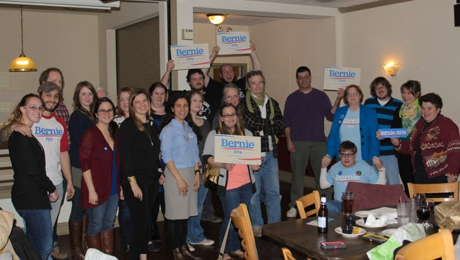 Franklin County area supporters of Democratic Presidential candidate Bernie Sanders gathered at Knute's Pub and Grill in Shippensburg on Tuesday.