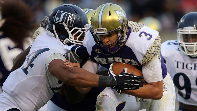 Alcorn State quarterback John Gibbs Jr. scrambles against Jackson State in this file photo.