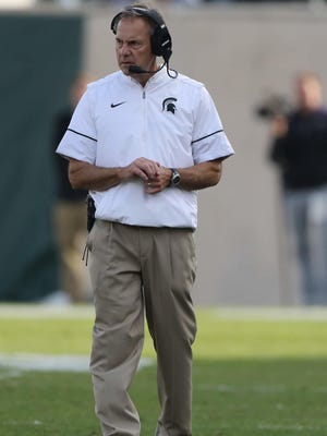 Michigan State Spartans head coach Mark Dantonio on the sidelines during the first half against Northwestern on Saturday, Oct. 15, 2016 at Spartan Stadium.