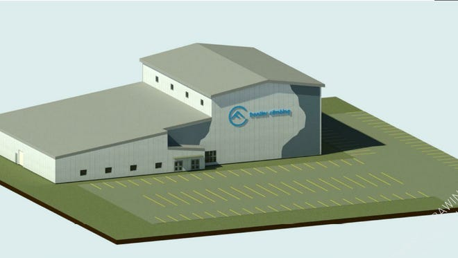 A rendering of the exterior of Frontier Climbing, a rock climbing wall and fitness center planned for eastern Sioux Falls.