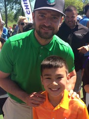 Charlie Danuloff with pop star Justin Timberlake, a