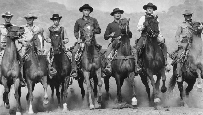"""Sometimes a gallop just looks better. A scene from """"The Magnificent Seven"""" (1960)."""
