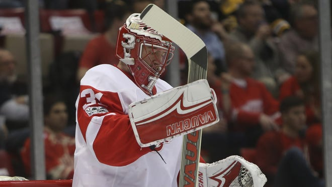 Red Wings goalie Jared Coreau reacts after allowing a goal during the first period against the Boston Bruins on Wednesday, Jan. 18, 2017 at Joe Louis Arena in Detroit