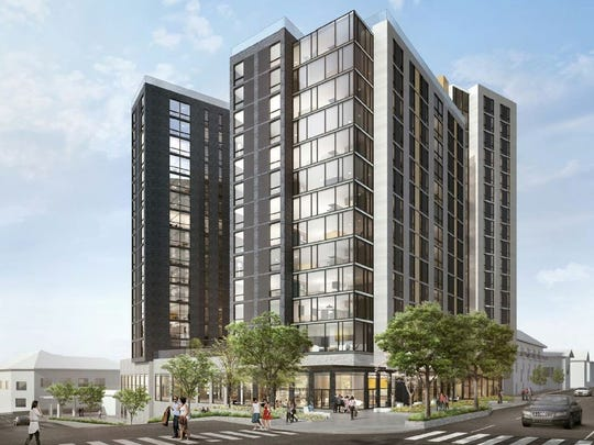 Plans for Rise at Chauncey, a three-building, 16-story