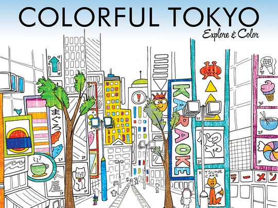 The book cover of Colorful Tokyo, a coloring book and