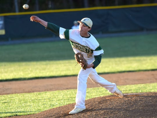 Wilson Memorial's Jack Wingfield delivers a pitch during the Green Hornets' 4-2 victory over Stonewall Jackson in Shenandoah District baseball action on Tuesday, April 17, 2018, at Bo Bowers Stadium in Fishersville, Va.