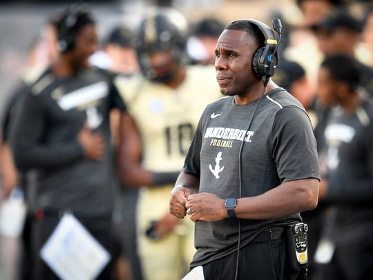 Vanderbilt head coach Derek Mason watches his team