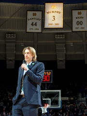 Former Notre Dame and Pacers player Troy Murphy is inducted into the Irish Basketball Ring of Honor at halftime.