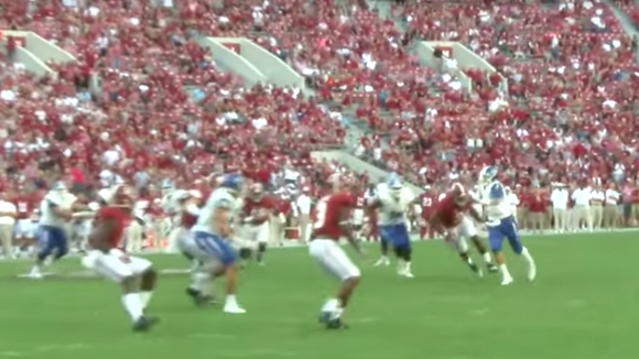 Grammer throws the football against Alabama on Sept.