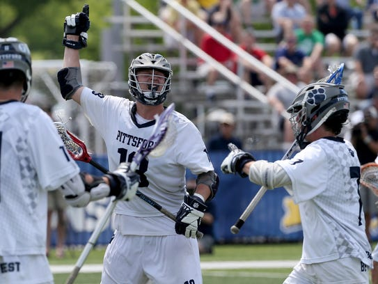 Pittsford  #18 Colby Barker celebrates his goal against