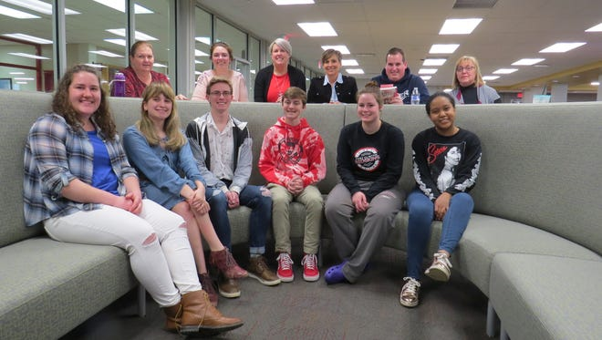 """Port Clinton High School  Reading Redskins, a new book club at the school, recently gathered to discuss the first book, """"before i fall."""""""