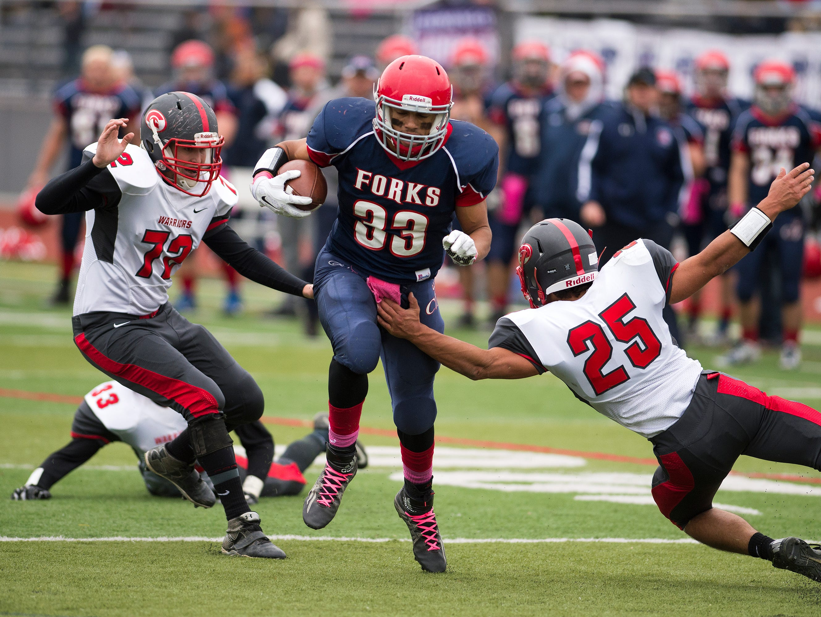 Chenango Forks quarterback L.J. Watson rushes for a touchdown during the second quarter of the Blue Devil's 43-27 win over Chenango Valley at home on Saturday.