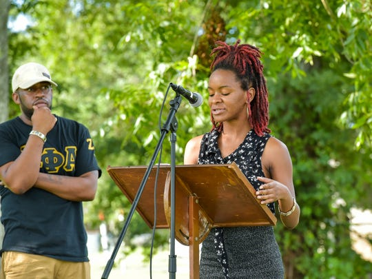 DeAndra Edwards recites a poem about chasing dreams July 30 at the Career Guidance and Motivational Lectures event at Louisiana Avenue United Methodist Church.