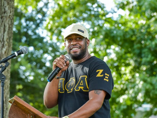 Keithen Domingue served as the master of ceremonies at the Career Guidance and Motivational Lectures event that he organized to emphasize education in north Lafayette communities.