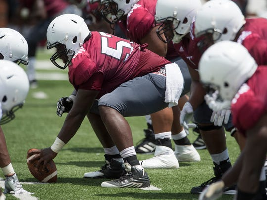 Troy University center Deontae Crumitie during a football scrimmage at the campus in Troy, Ala. on Saturday August 13, 2016.