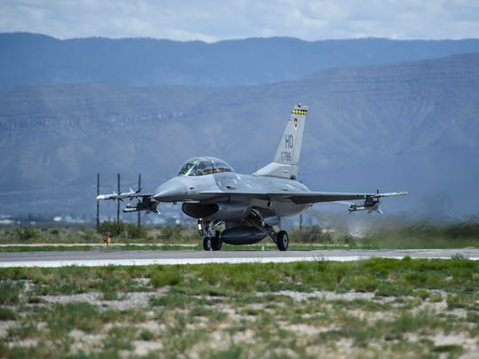 This photo taken Aug. 17, 2017 and provided by the U.S. Air Force, shows an F-16 Fighting Falcon ready for take-off in preparation to perform a final joint flying mission at Holloman Air Force Base in Alamogordo, N.M.  Holloman Air Force Base officials say their current array of flight training areas in southern New Mexico is outdated and that some need to be expanded, reshaped and relocated.