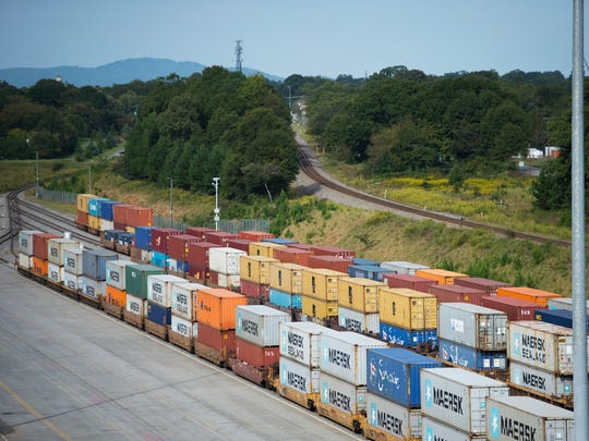 Trains headed for Atlanta and Charleston carry shipping containers from the South Carolina Inland Port in Greer.