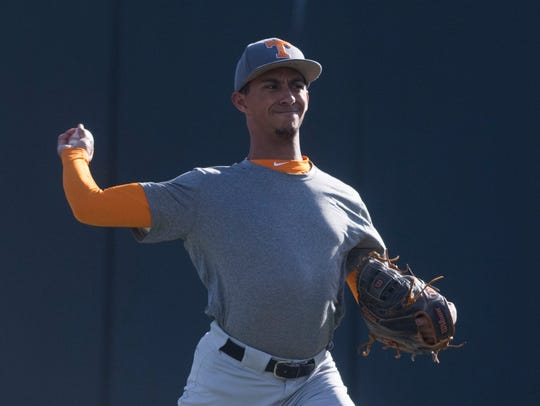 University of Tennessee baseball pitcher Will Neely warms up during practice at Lindsey Nelson Stadium on Friday, Jan. 26, 2018.