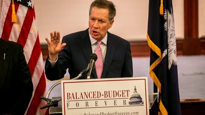 Ohio Governor John Kasich speaks about his proposed amendment to balance the federal budget during a press conference at the South Carolina State House in Columbia, SC, Thursday morning, February 19, 2015. Photo by Jeff Blake/Special to the Enquirer