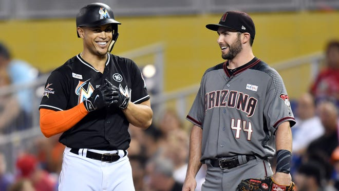 Giancarlo Stanton, left, and Paul Goldschmidt are both top-10 overall fantasy players in 2018.