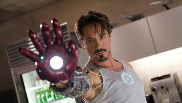 "Robert Downey, Jr. in a scene from ""Iron Man."""