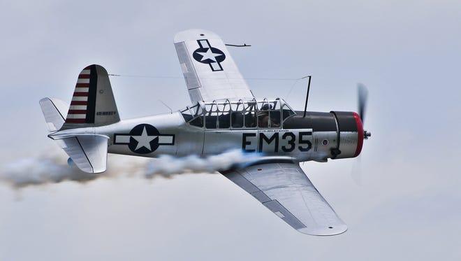 Michael Kennedy in the Vultee BT-13.