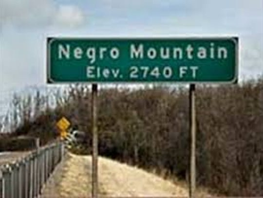 Negro Mountain elevation sign