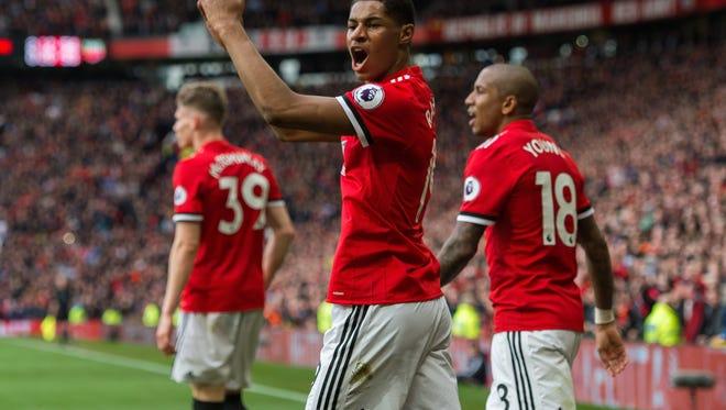Marcus Rashford of Manchester United  celebrates scoring his second goal.