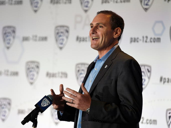 Pac-12 commissioner Larry Scott talks to the media during the Pac-12 Media Day at the Studios at Paramount.