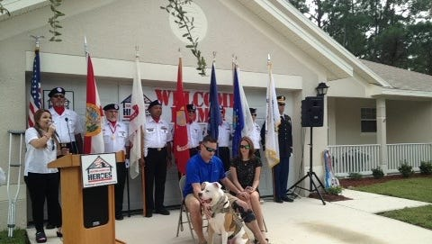 Building Homes for Heroes presented Marine veterans Brandon Stevenson with a house in Palm Bay