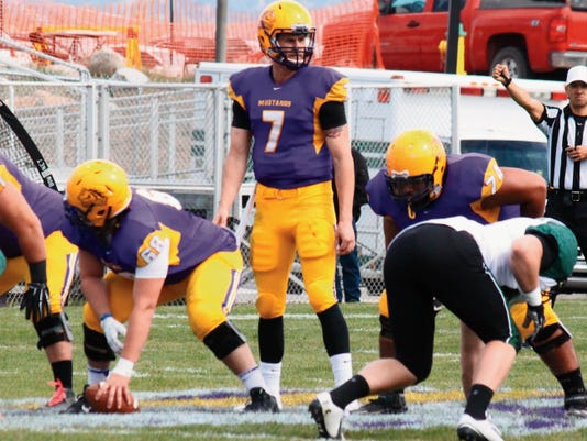 Danny Udero/Sun-News   WNMU senior Mitch Glasmann will lead the Mustangs at quarterback position this year and have a chance at becoming the conference's all-time leading passer.