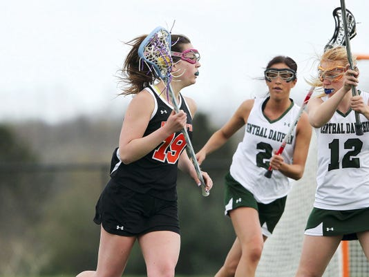 Palmyra's Peyten Lyons looks to pass during a Mid-Penn Keystone matchup against Central Dauphin at Central Dauphin High School on Tuesday.