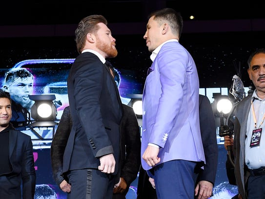 Canelo Alvarez, left, is scheduled to face Gennady