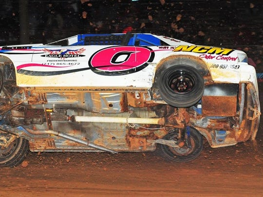 Ed Hollenbach goees for a wild ride during the Charger race at Linda's Speedway on Friday.