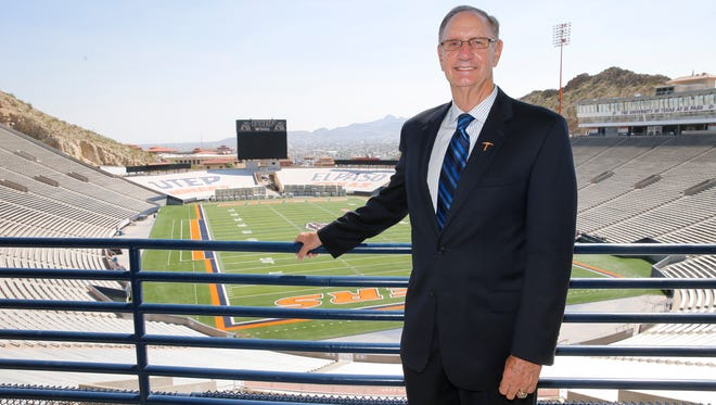 UTEP Athletic Director Bob Stull stands with the Sun Bowl as a backdrop after addressing a small crowd of family, coaches friends and administrators as he officially announced his planned retirement as AD at UTEP. Stull will remove as the AD until a replacement has been found which is expected to take about two months.