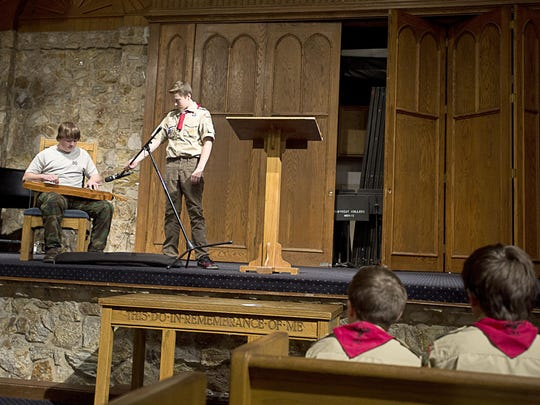 Boy Scout Troop 50 practice their roles in a Scout Sunday practice Wednesday at Christ Community Church in Montreat.