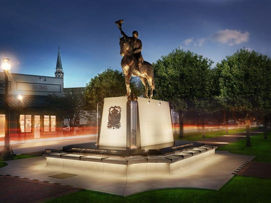 Night shot rendering of the 2,000-pound equestrian bronze of Bernardo de Gálvez that will sit atop an architectural fountain at the intersection of Palafox and Wright streets