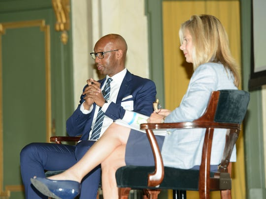 Ohio's Regional President for The Enquirer/USA Today Network Eddie Tyner and The Greater Cincinnati Foundation CEO Ellen Katz at the recent luncheon for past honorees of Women of the Year.