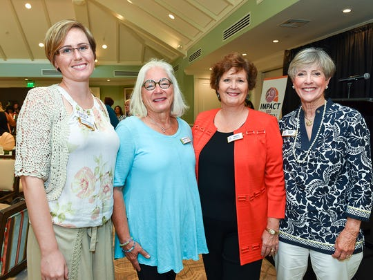 Sarah Paulick, left, Maxine Knowles, Carrie Lavargna, and Ellen Peitz at the Impact 100 Martin luncheon at Piper's Landing Yacht & Country Club.
