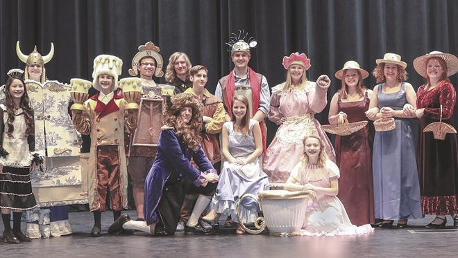 "Cast members of ""Beauty and The Beast"" will perform for the first time in Winneconne's new Community Arts Center. Pictured are, first row, from left, Sean McGinnis, Libby LaDue, Bella Goland; second row, Rebecca Kinderman, Katie McGinnis, Austin Vonderloh, Levi VanHandel, Rudy Liljeberg, Gage Cady, Hayden Schultz, Raquel Dahlke, Gretta Kumrow, Brooke Flunker and Sydney Schultz."