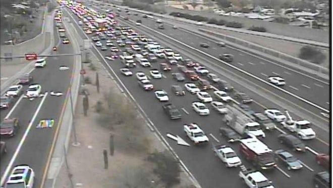 A crash on U.S. 60 near Mill Avenue was slowing westbound traffic Tuesday evening.