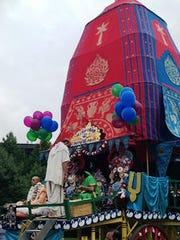 The chariot to be pulled at Sunday's Rath Yatra, or