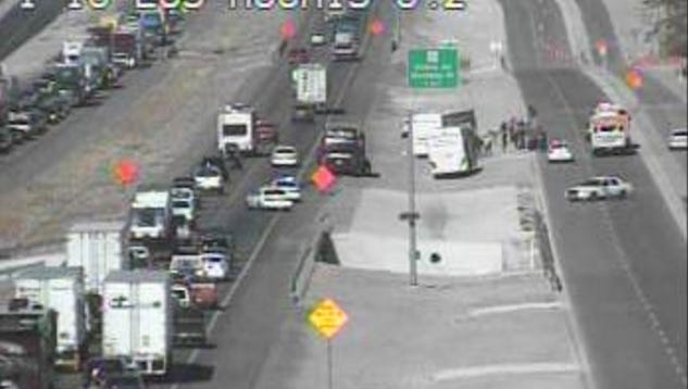 A Texas Department of Transportation camera shows a collision on Interstate 10 East near mile marker 5 on Saturday.