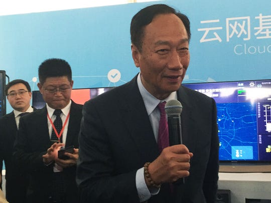 Terry Gou,  chairman of Foxconn Technology Group, speaks at a March 1, 2017, groundbreaking ceremony in the southern Chinese city of Guangzhou.