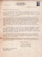 Capt. Charles McVay III, skipper of the USS Indianapolis, expresses his sorrow in a letter to the family of Seaman 2nd Class Lester E. McClary on the loss of their son.