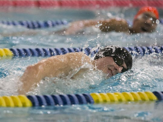 Parsippany Hills sophomore Evan Bota swims the 200-meter