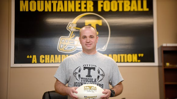 JT Postell was named the new head coach of the Tuscola Mountaineers football team. Photographed on his first day on the job, Feb. 13, 2018.