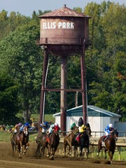 Jon Court on J.Z.'s Crafty Boy takes a commanding lead in the seventh race at Ellis Park Monday afternoon, Sept. 7, 2015.